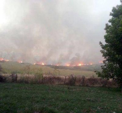 Bomberos luchan contra voraz incendio que amenaza a zona residencial en Sierra de los Padres