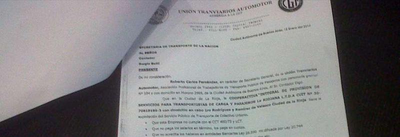 UTA nacional accionó con cartas documento en respaldo a choferes despedidos