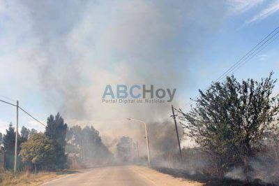 Importante incendio en varias hectáreas cercanas a la Rural