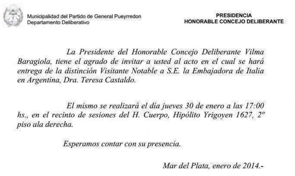 Vilma Baragiola reconocerá a la Embajadora Italiana en Argentina mañana a las 17.00 en el HCD