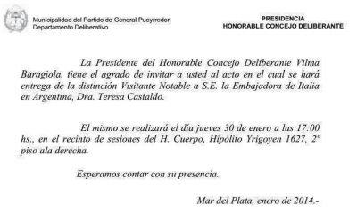 Vilma Baragiola reconocer� a la Embajadora Italiana en Argentina ma�ana a las 17.00 en el HCD