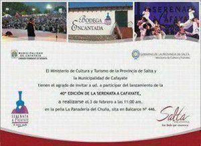 Se lanzará este lunes la 40 edición de la Serenata a Cafayate
