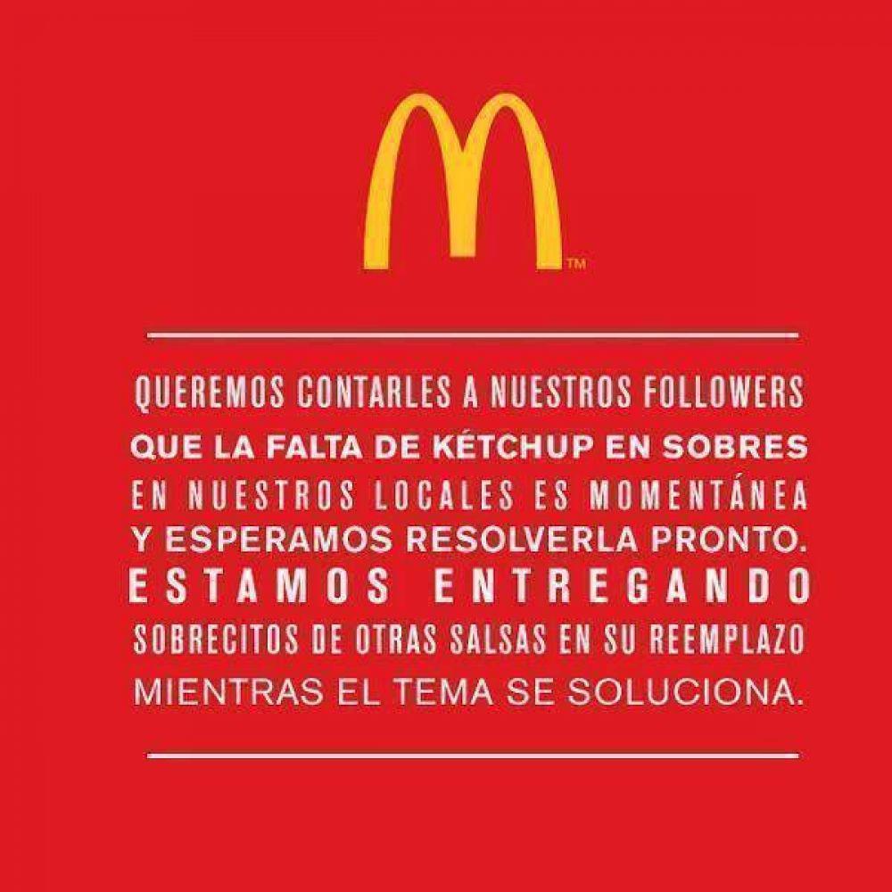 McDonald's Argentina se quedó sin ketchup y los clientes expresaron malestar en las redes