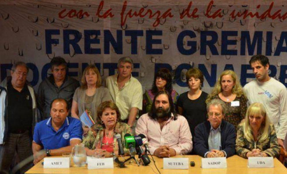 El Frente Gremial Docente Bonaerense exigió una convocatoria a paritarias