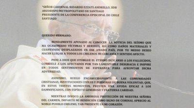 El papa Francisco se solidarizó por la tragedia del terremoto en Chile