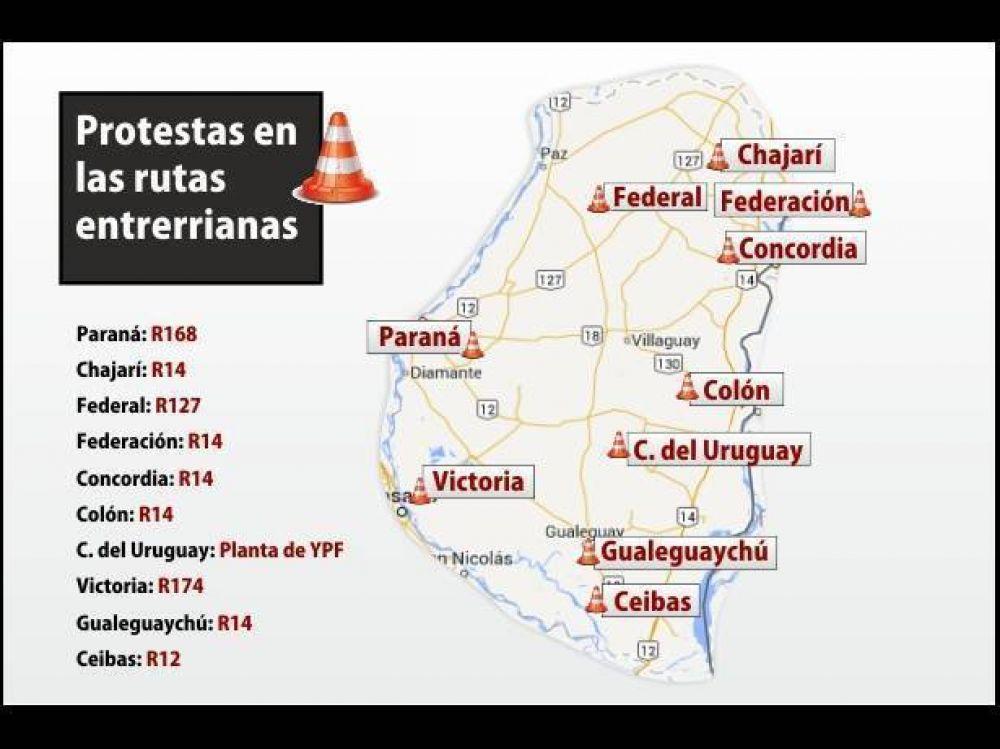 Camioneros van a las rutas en una decena de localidades entrerrianas