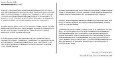 Cristina advirti� a Israel por la situaci�n de un cura argentino en Gaza