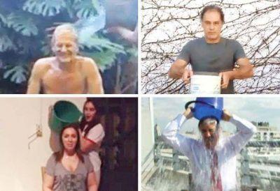 Los videos de los políticos bajo el agua helada: baldazos y campaña