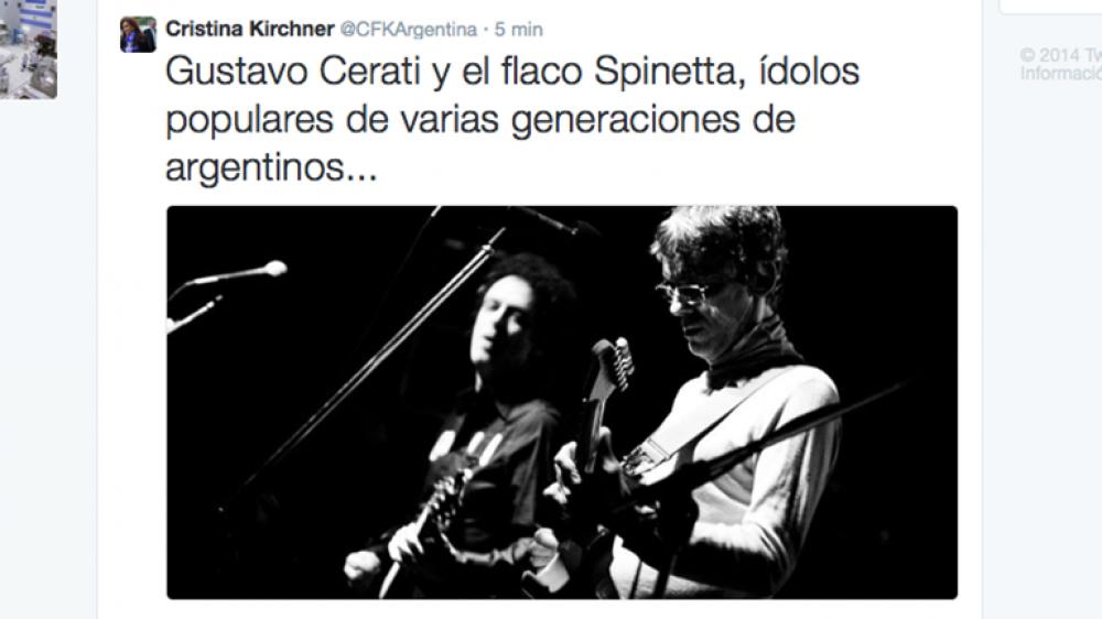 Cristina Kirchner recordó a Cerati y al