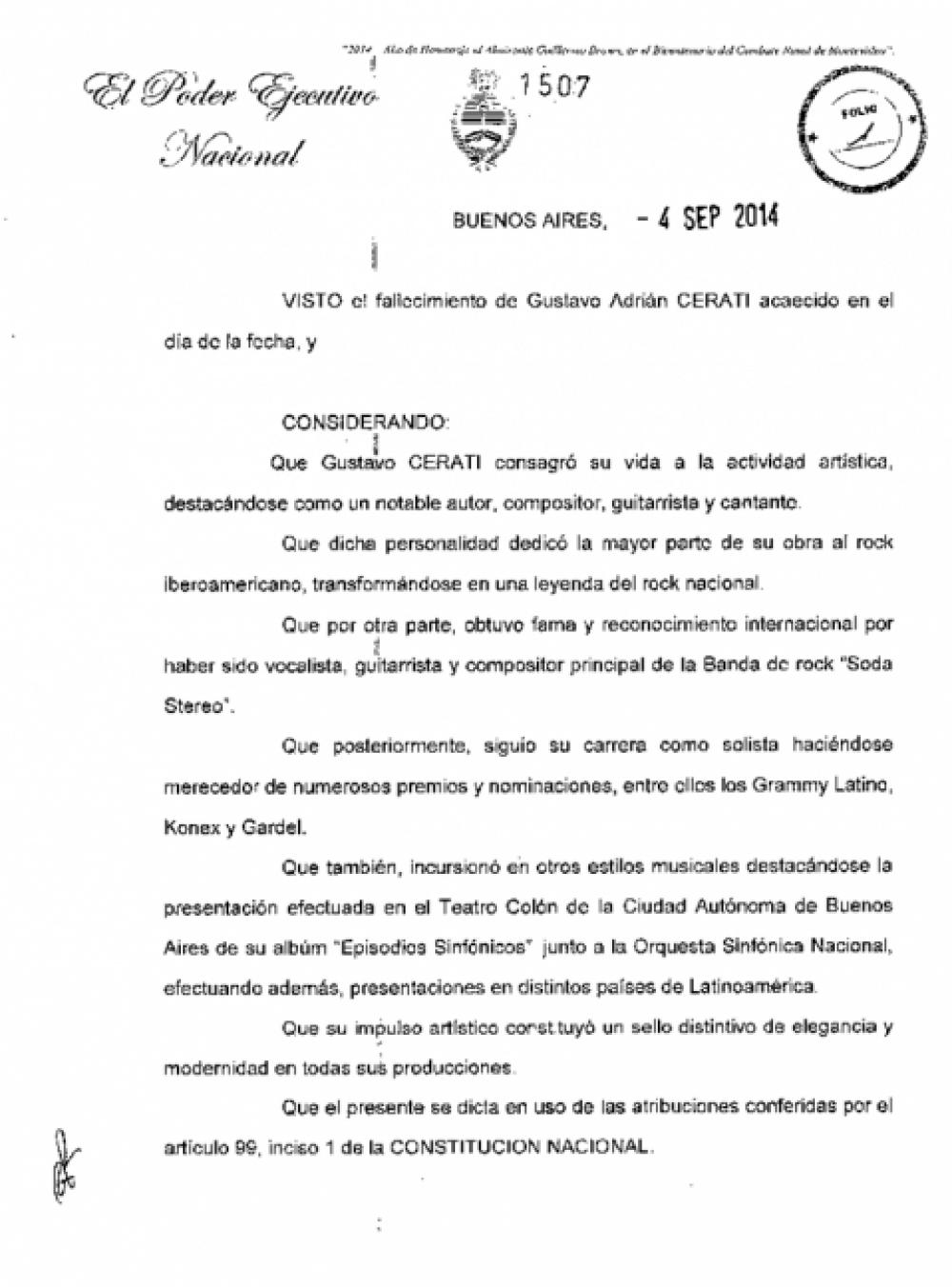 La Presidente decretó dos días de duelo nacional por la muerte de Gustavo Cerati