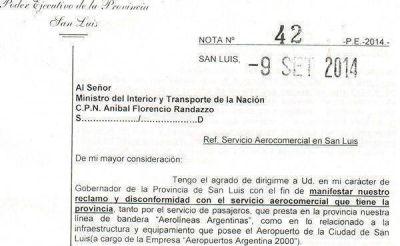 El gobernador pidió a la Nación la concesión del aeropuerto de San Luis