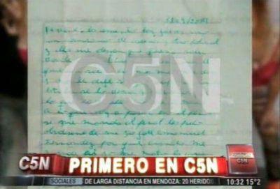 La carta de Chavito, uno de los acusado del crimen de Melina: