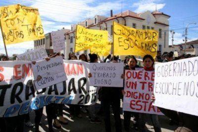 Ex empleadas de Guzmán se manifestaron en el izamiento