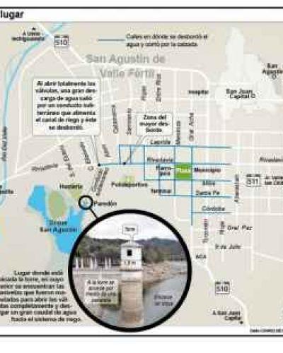 Susto por el agua del dique que anegó todo San Agustín