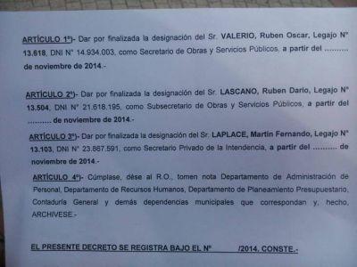 Villalba echó a Valerio, Lascano y Laplace