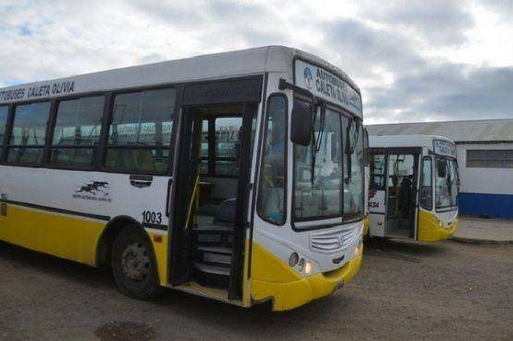 Trabajadores de autobuses Caleta Olivia en medida de fuerza por bonos navideños