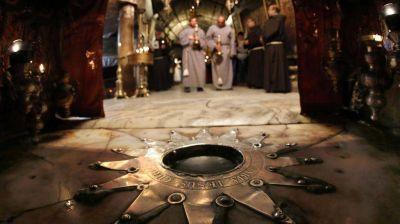 El interior de la Basílica de la Natividad