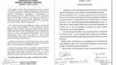 El FCyS y el F3P afirman que no avalan la candidatura a intendente de Rubén Ceballos en la ciudad de Recreo