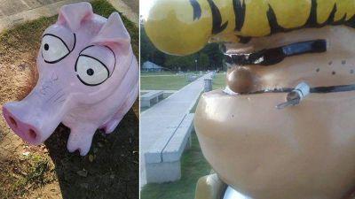A 9 días de la inauguración, dañaron esculturas del homenaje a Fontanarrosa
