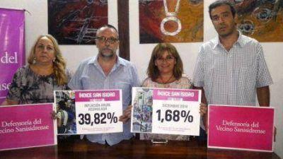 La inflación anual acumulada de 2014 en San Isidro fue del 39,82%