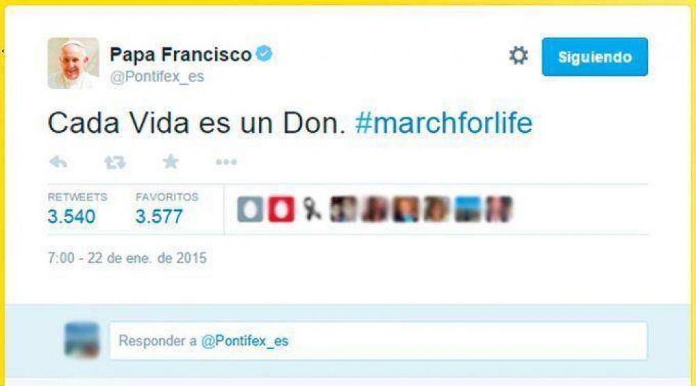 Papa Francisco se une vía Twitter a Marcha por la Vida en Estados Unidos