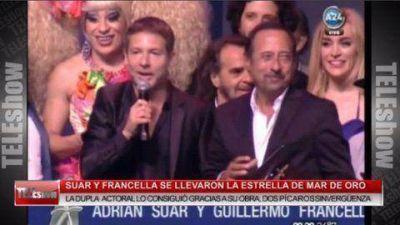 Francella y Suar se quedaron con la Estrella de Mar de Oro