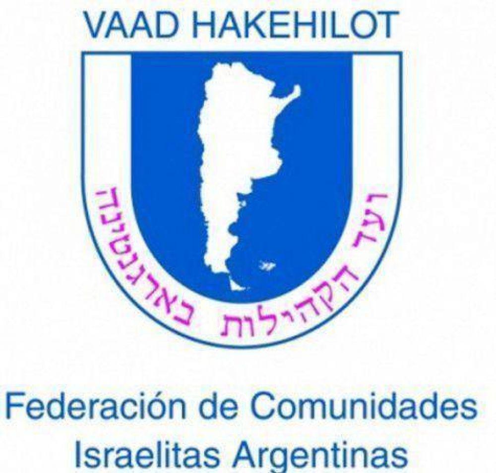 Comunicado de la Federación de Comunidades Judías de la República Argentina
