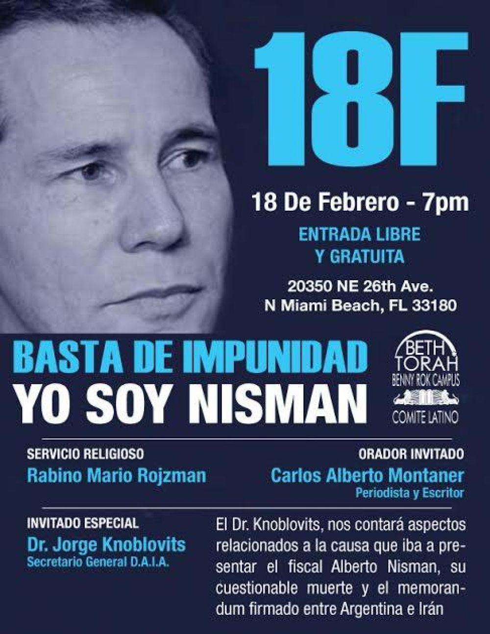 """Nisman 18F. La comunidad judía de Miami adhirió a la """"marcha del silencio"""""""