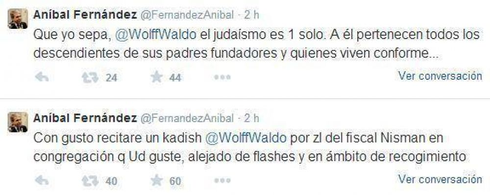 Aníbal Fernández se comprometió a decir un kadish de duelo por Nisman