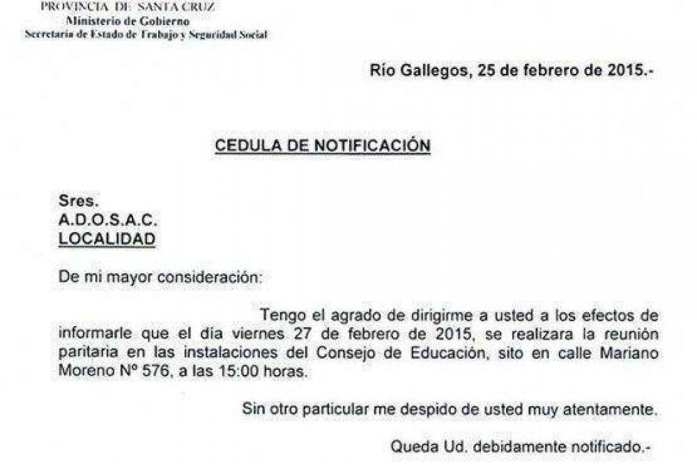 El Gobierno convocó a paritaria salarial a ADOSAC para el viernes