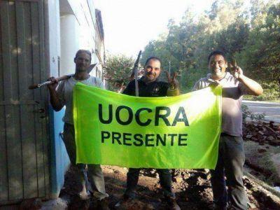 UOCRA realiza arreglos en la vereda de la Esc. Nº10 de Portela