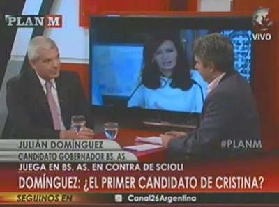 Domínguez proclamó a Lenzi por pantalla grande