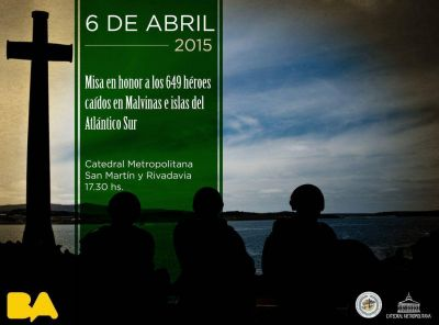 Misa en honor a los 649 héroes caídos en Malvinas e islas del Atlántico Sur