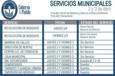 Servicios de la Municipalidad de Corrientes para el 2 y 3 de abril