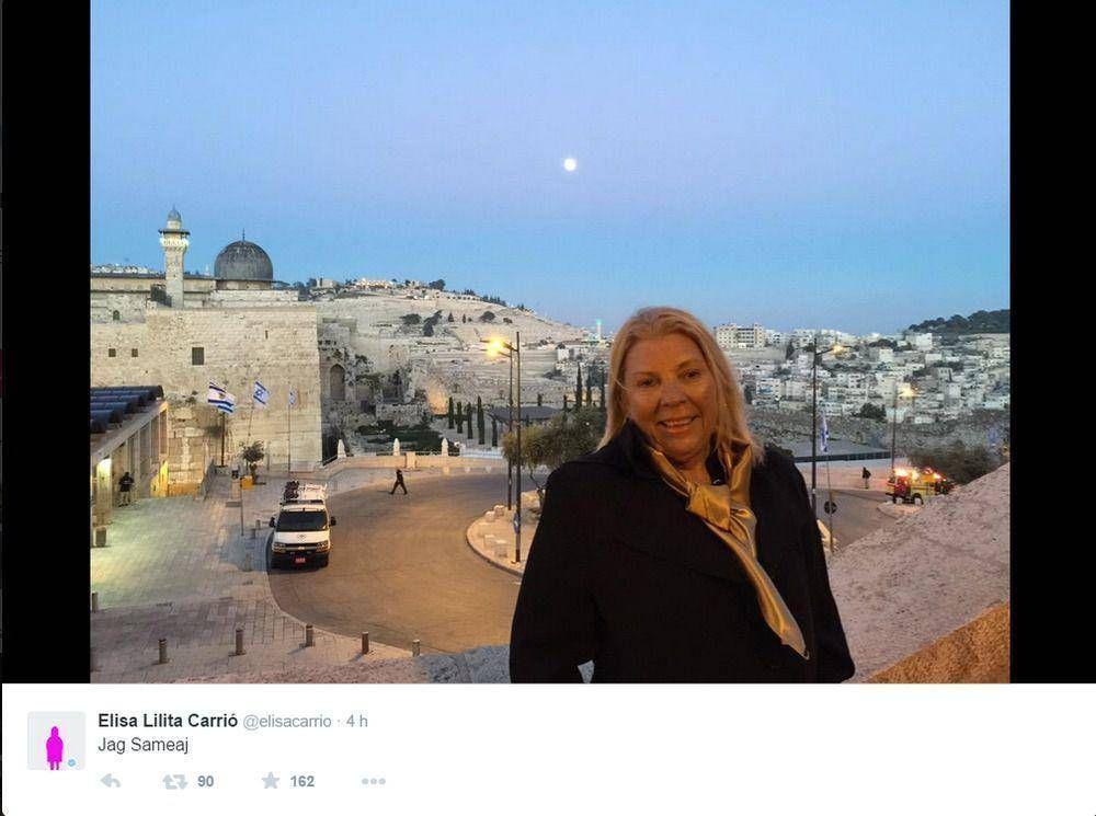 Carrió desde Israel deseó un buen augurio a pocas horas del inicio de Pesaj