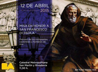 Celebración de la misa por San Francesco Di Paola en el marco de Buenos Aires celebra Calabria
