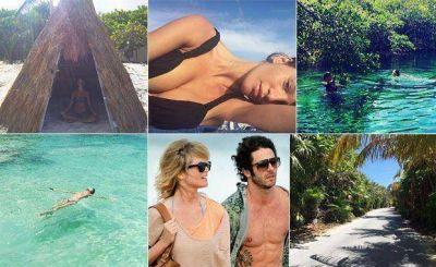 El álbum de viaje de Liz Solari y su novio en Tulum: meditación, selfie sexy y diversión en la jungla