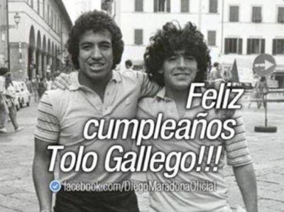 El Tolo Gallego cumplió 60 años y Diego Maradona le envió un afectuoso saludo