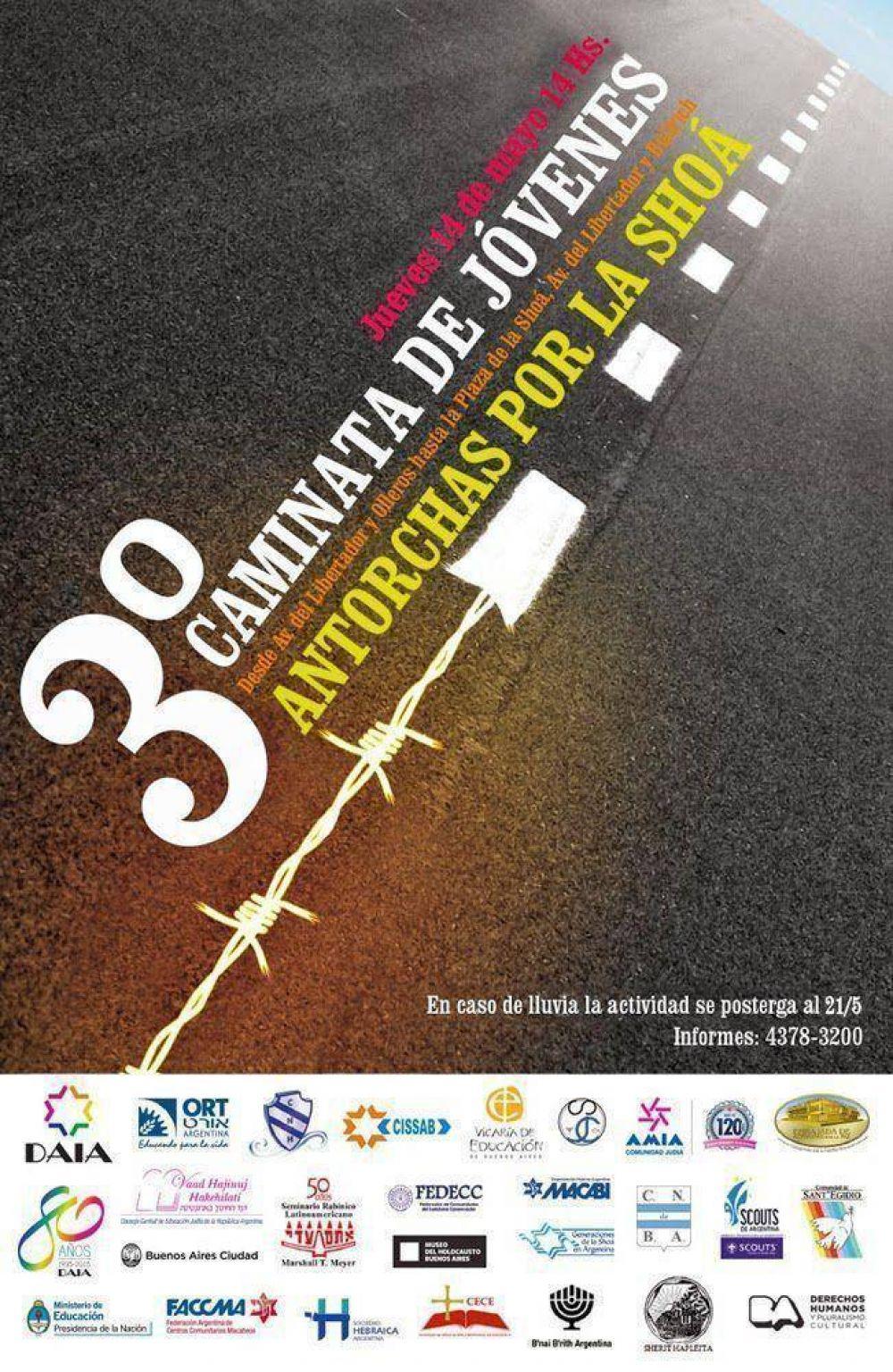 Hoy se realizará la 3º caminata de Antorchas por la Shoá