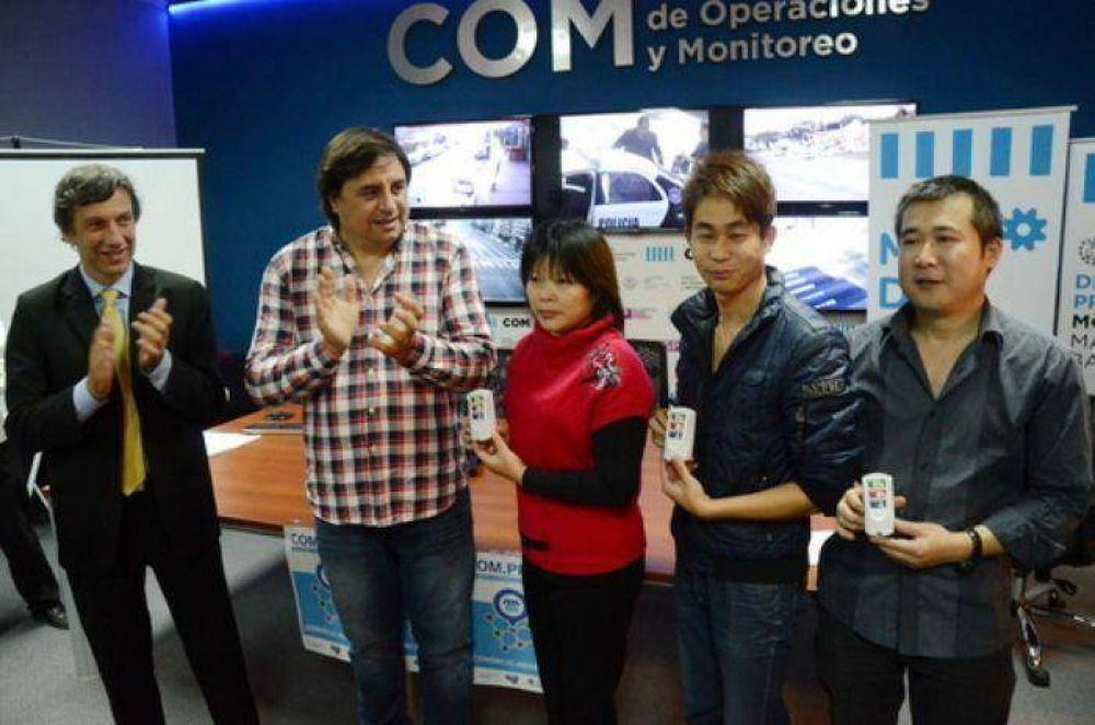 Entregaron botones de alerta a supermercadistas chinos