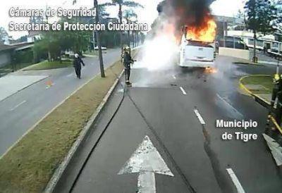 Las cámaras de Tigre detectan incendio en un colectivo