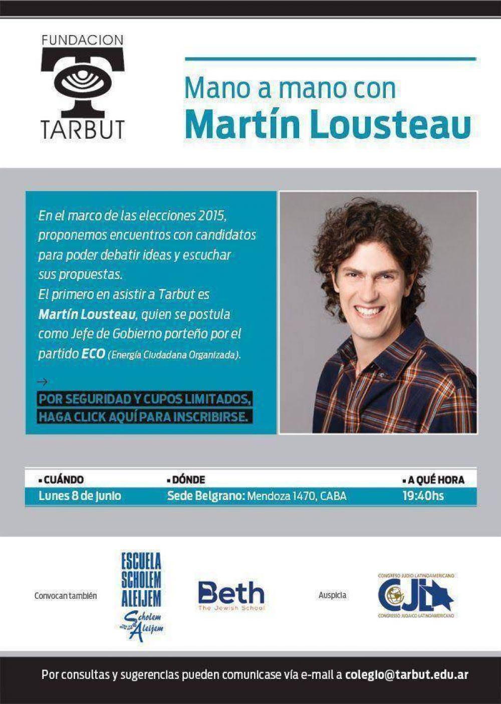Martín Lousteau dará una charla en Tarbut - Sede Belgrano