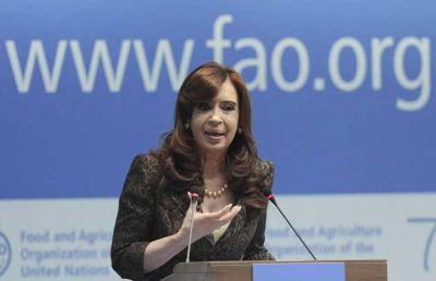 Cristina reclamó a la FAO que frene la especulación con alimentos