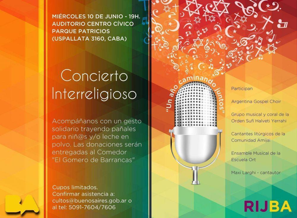La Red Interreligiosa de Jóvenes de la Ciudad De Buenos Aires, festeja su primer aniversario con un concierto interreligioso y solidario.