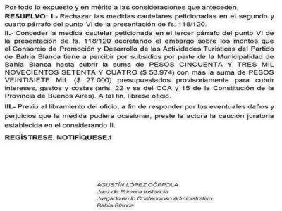 Coprotur: embargan cuentas de la Municipalidad