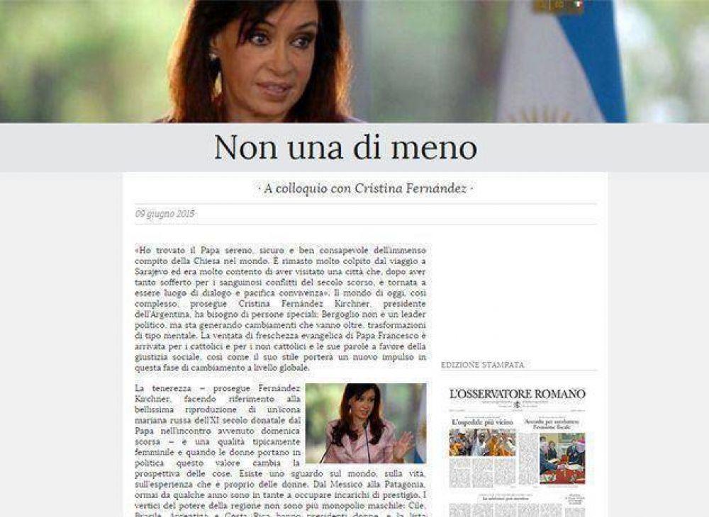 Cristina dijo que el Papa