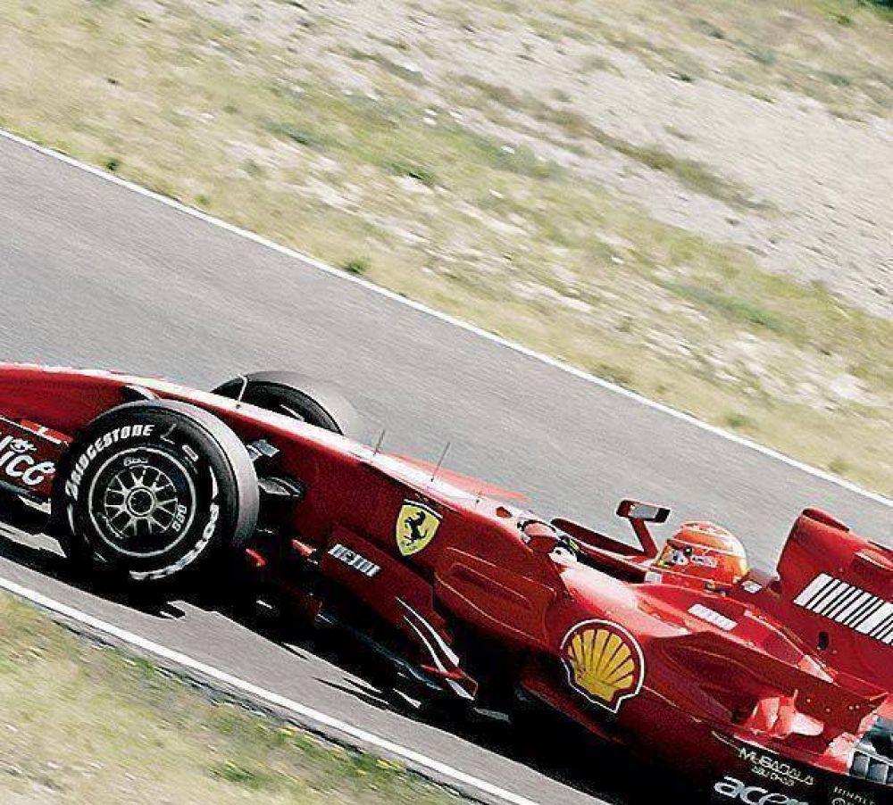 Schumacher giró con una Ferrari y se pone a punto.