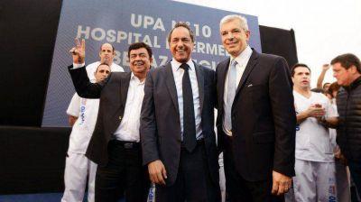 Domínguez y Espinoza, junto a Scioli en un acto en Berazategui