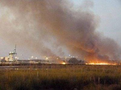 Importante incendio de pastizales frente a TZ
