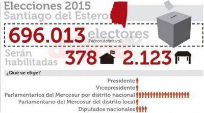 Son 696.013 los santiagueños que podrán votar